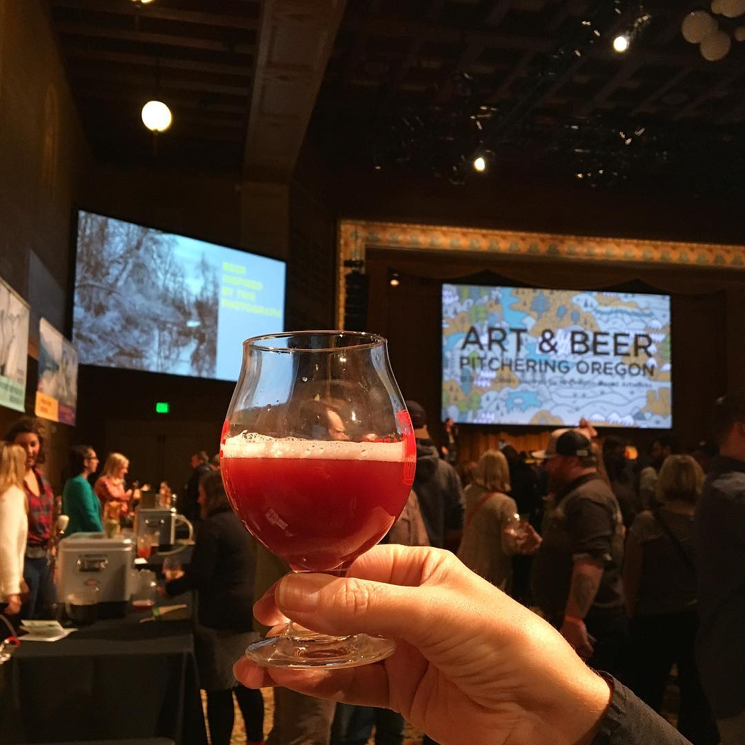 Spent the afternoon drinking beers inspired by art @portlandartmuseum. This lovely Berliner Weiss by @greatnotionpdx is an interpretation of a painting by Charles McKim of Sauvie Island. It was made with lots o berries, because, berry picking. Congrats on another great event, @ericmsteen!